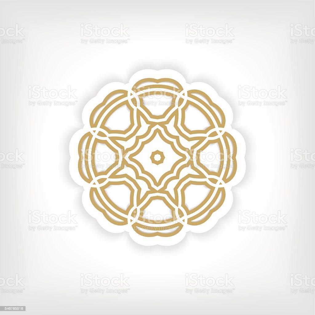 Gold mandala or geometrical figure, decorative element for ornament, vector vector art illustration