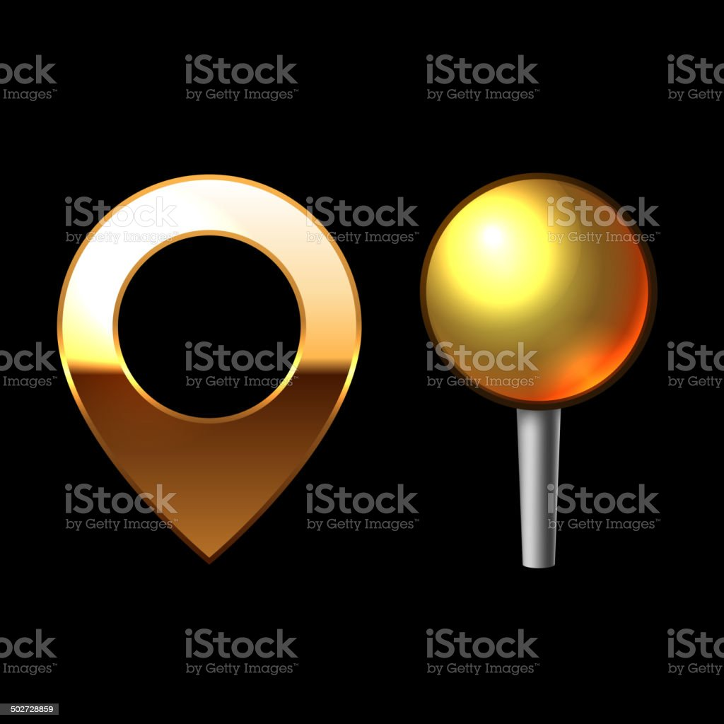 Gold Mapping Pins Set. Metal round shape with color reflection royalty-free stock vector art