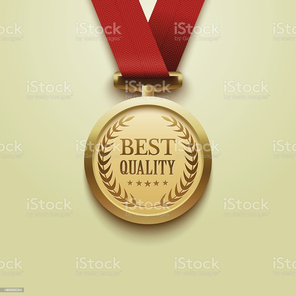 Gold medal best quality.vector vector art illustration