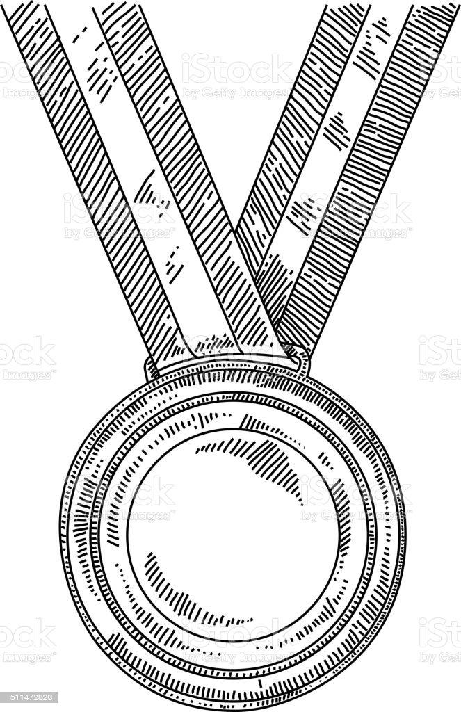 Gold medal Drawing vector art illustration