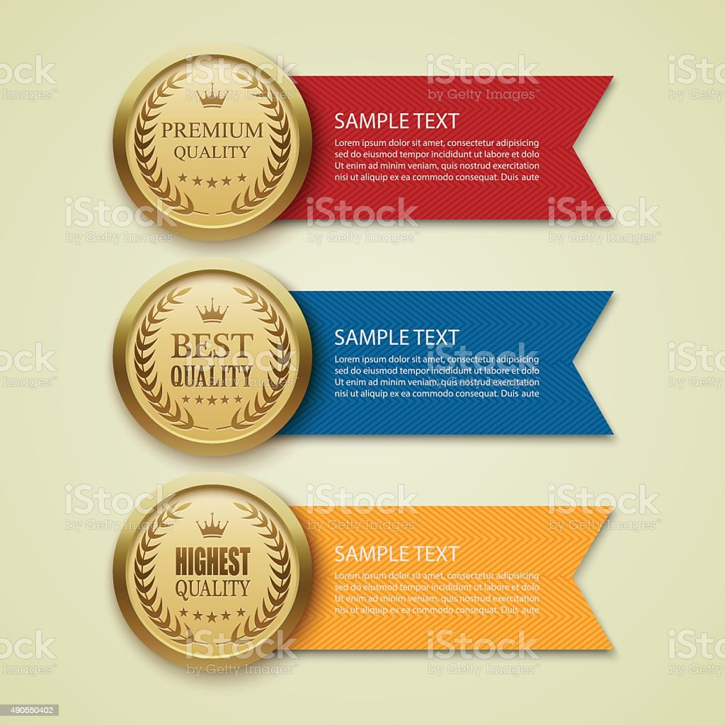 Gold medal vector vector art illustration