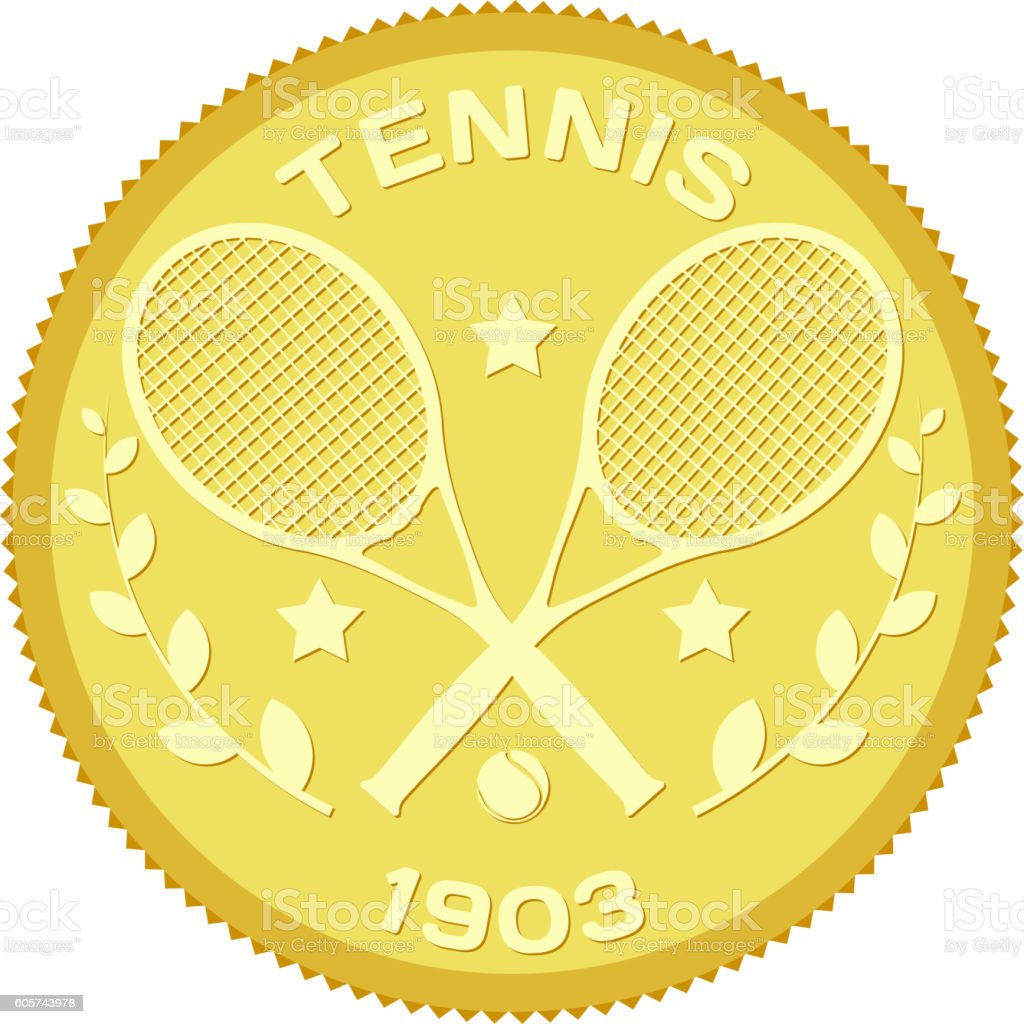 Gold medallion  image of rackets and ball for tennis. vector art illustration