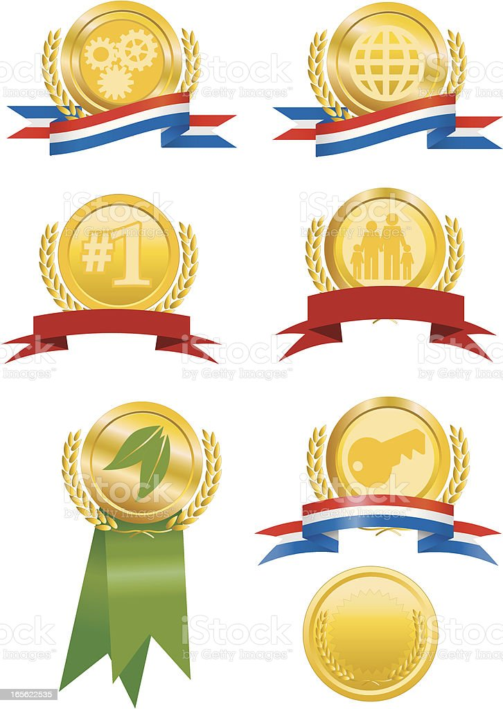 Gold Medallions with Ribbons royalty-free stock vector art