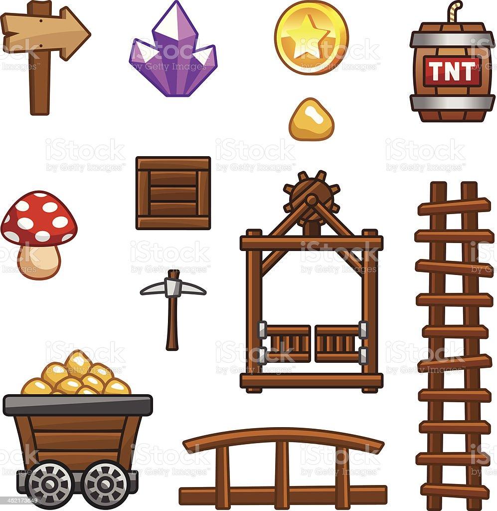 Gold mine assets. vector art illustration