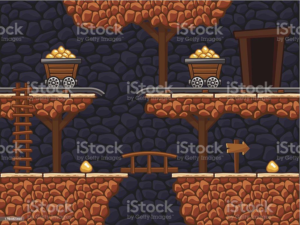 Gold mine vector art illustration