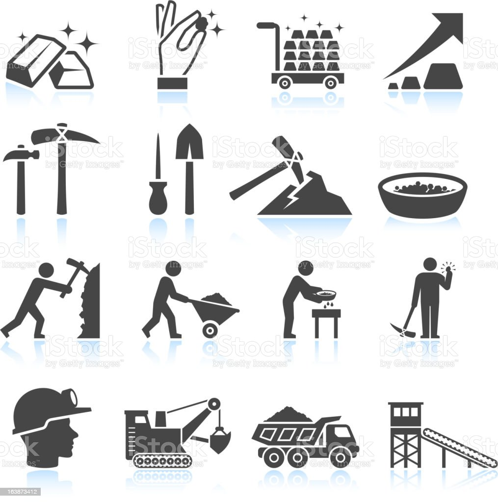 Gold Mining Industry black & white vector icon set vector art illustration