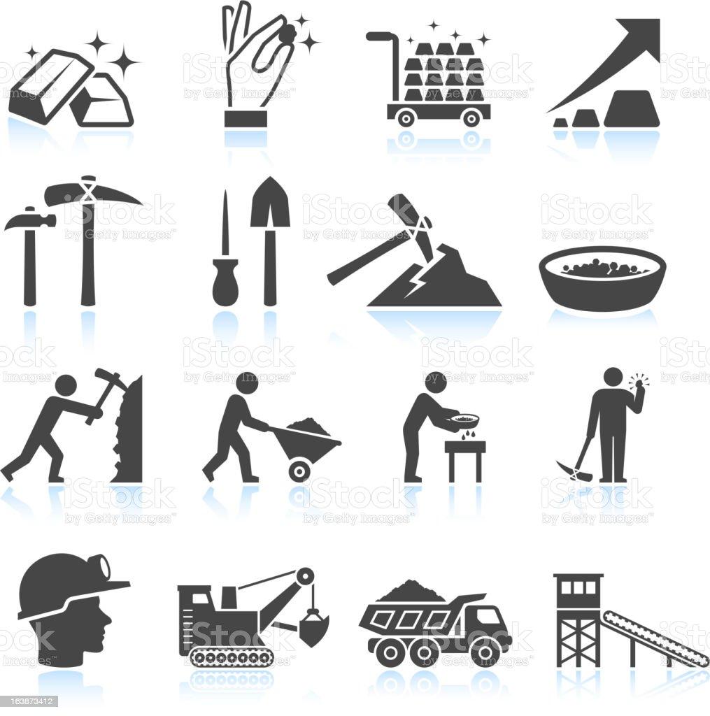 Gold Mining Industry black & white vector icon set vector art illustration