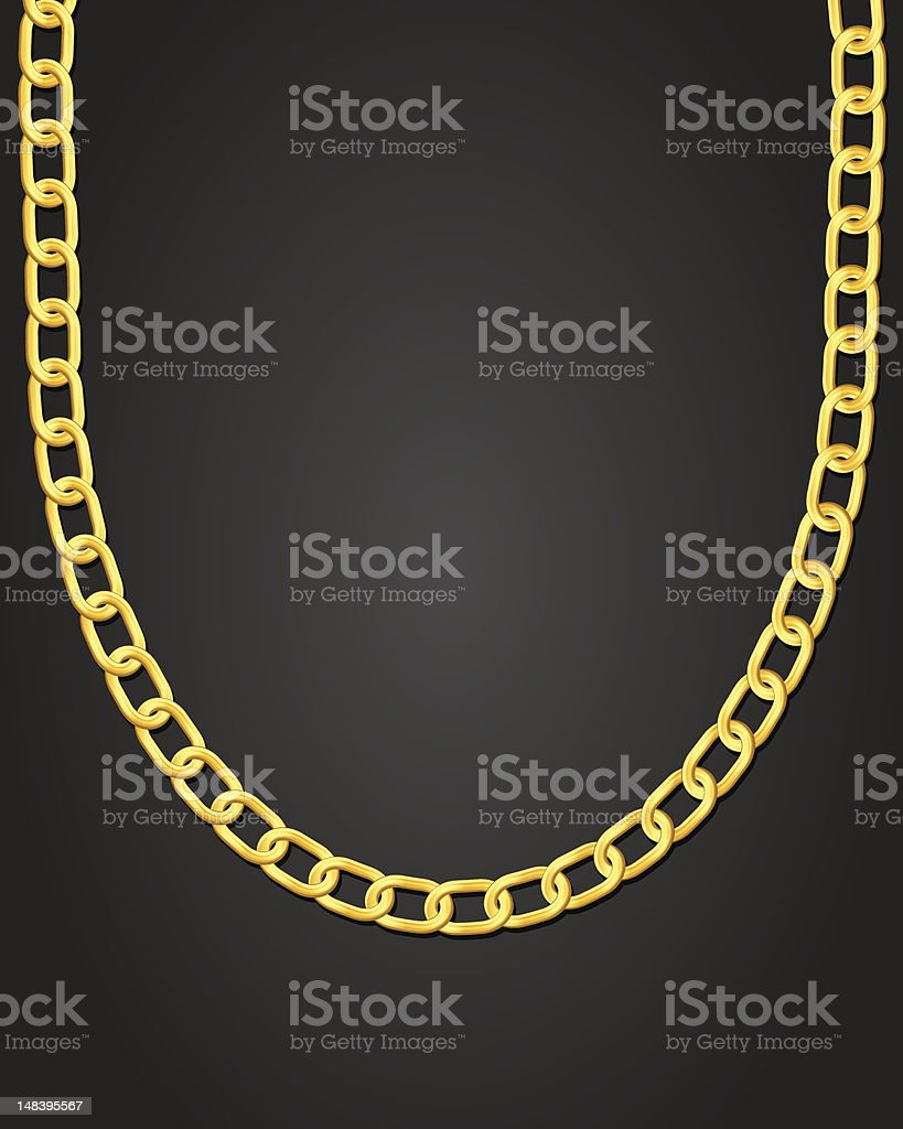 gold necklace vector art illustration