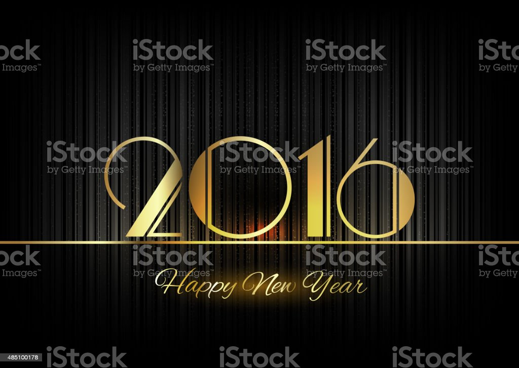 Gold New Year 2016 Luxury Symbol vector art illustration