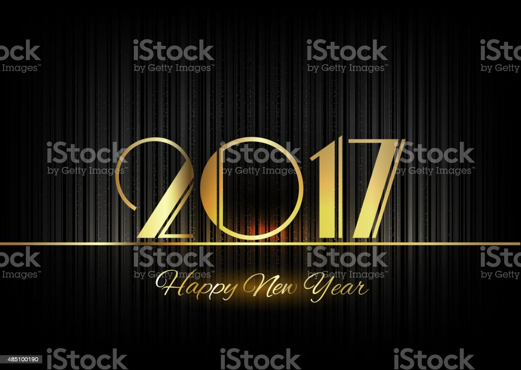 Gold New Year 2017 Luxury Symbol vector art illustration