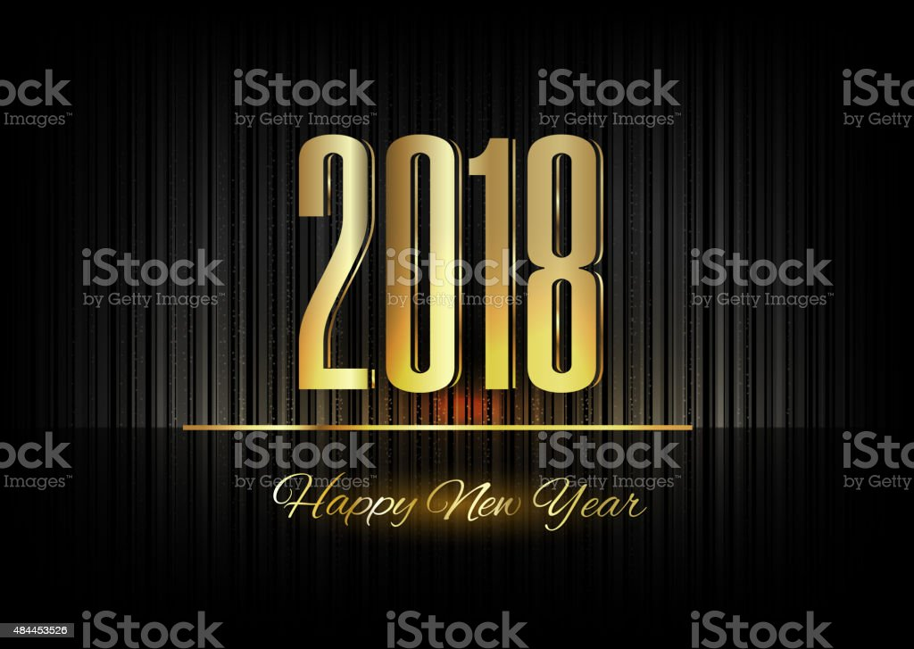 Gold New Year 2018 Luxury Symbol vector art illustration