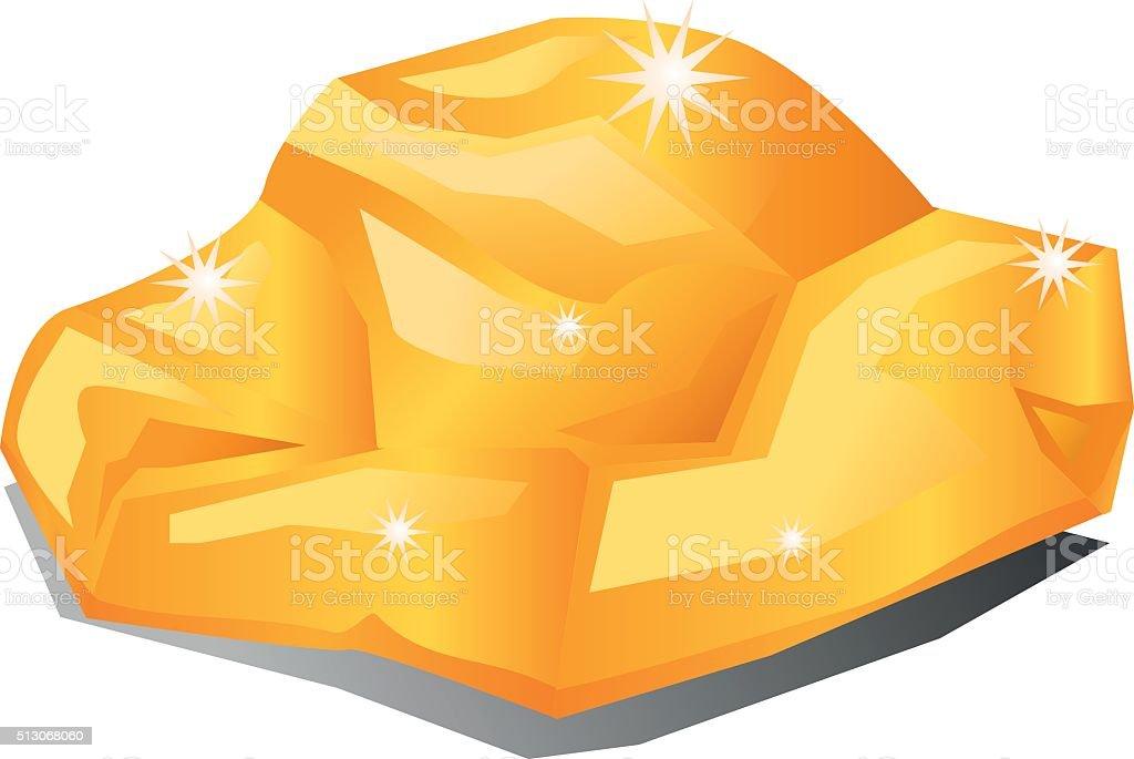 Gold nugget rock vector icon vector art illustration