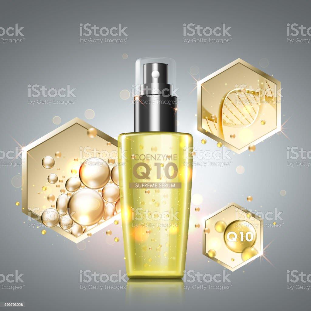 Gold oil serum skincare treatment vector art illustration
