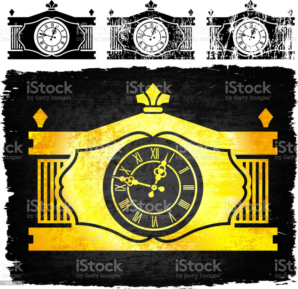 Gold old-fashioned clock on black royalty free vector Background royalty-free stock vector art