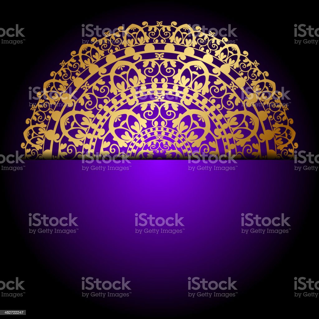 gold ornament on purple background royalty-free stock vector art