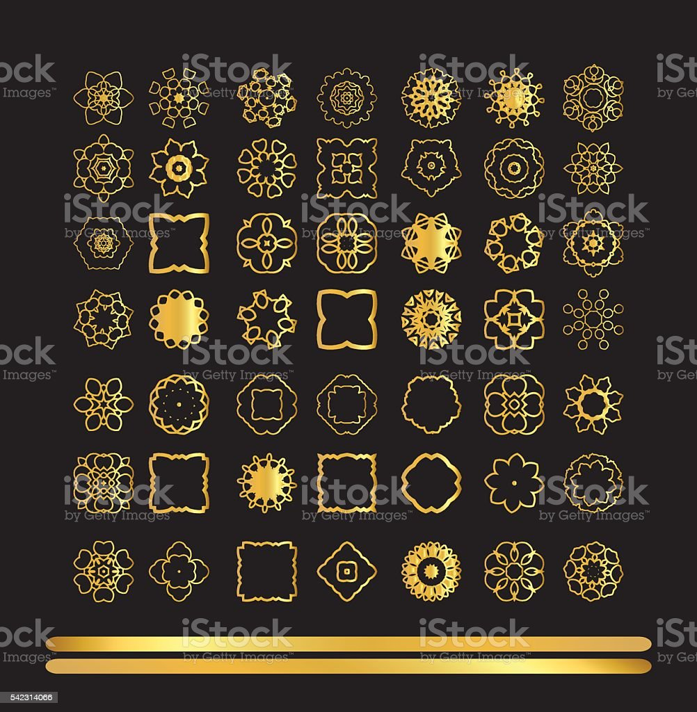 Gold  ornament set vector art illustration