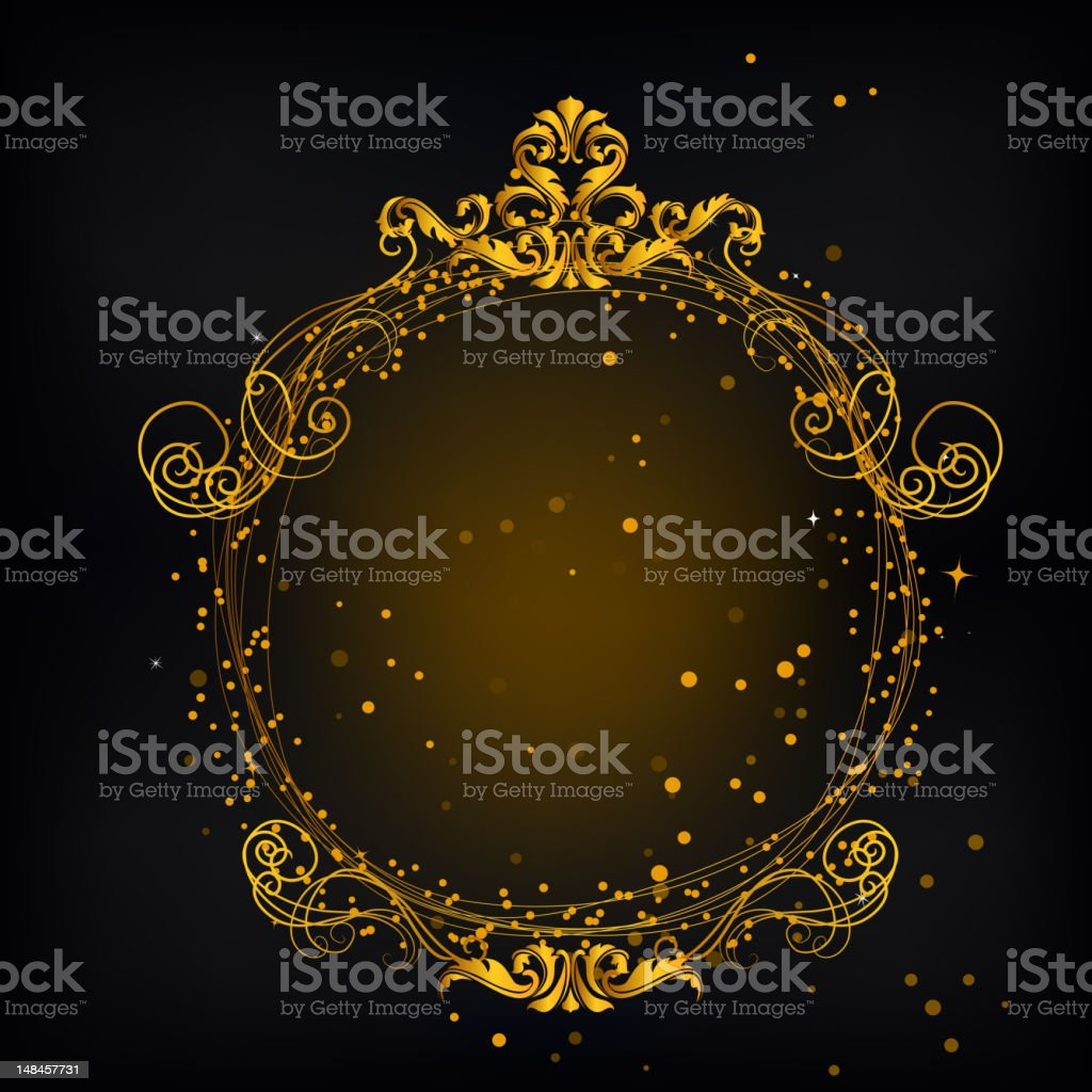 Gold Ornate Circular Frame royalty-free stock vector art