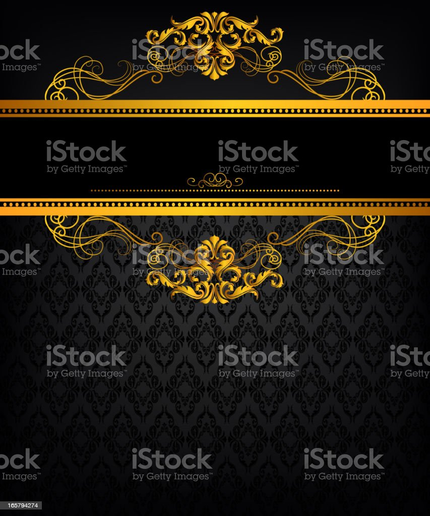 A gold ornate frame is design for display  royalty-free stock vector art
