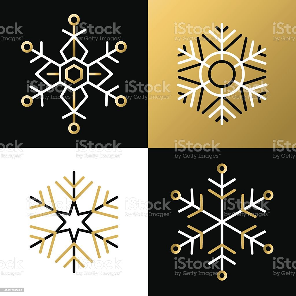 Gold outline line snowflake set icon christmas vector art illustration