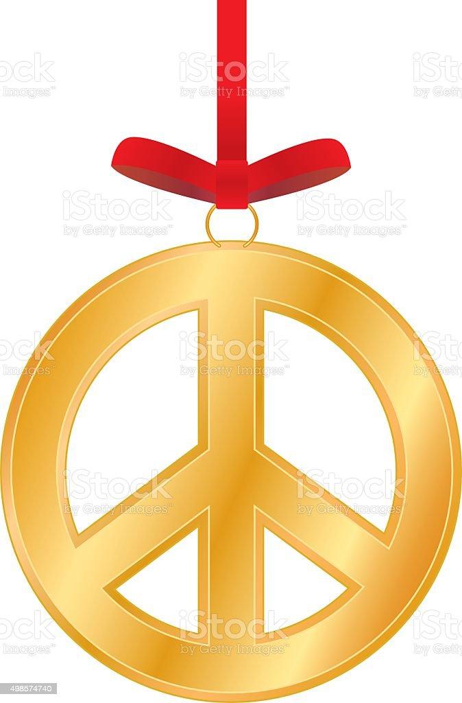 Gold Peace Sign Christmas Ornament vector art illustration