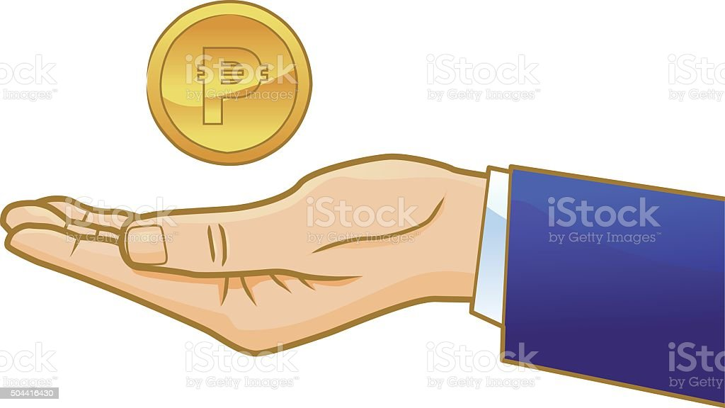 Gold Peso coin on businessman's open hand vector art illustration