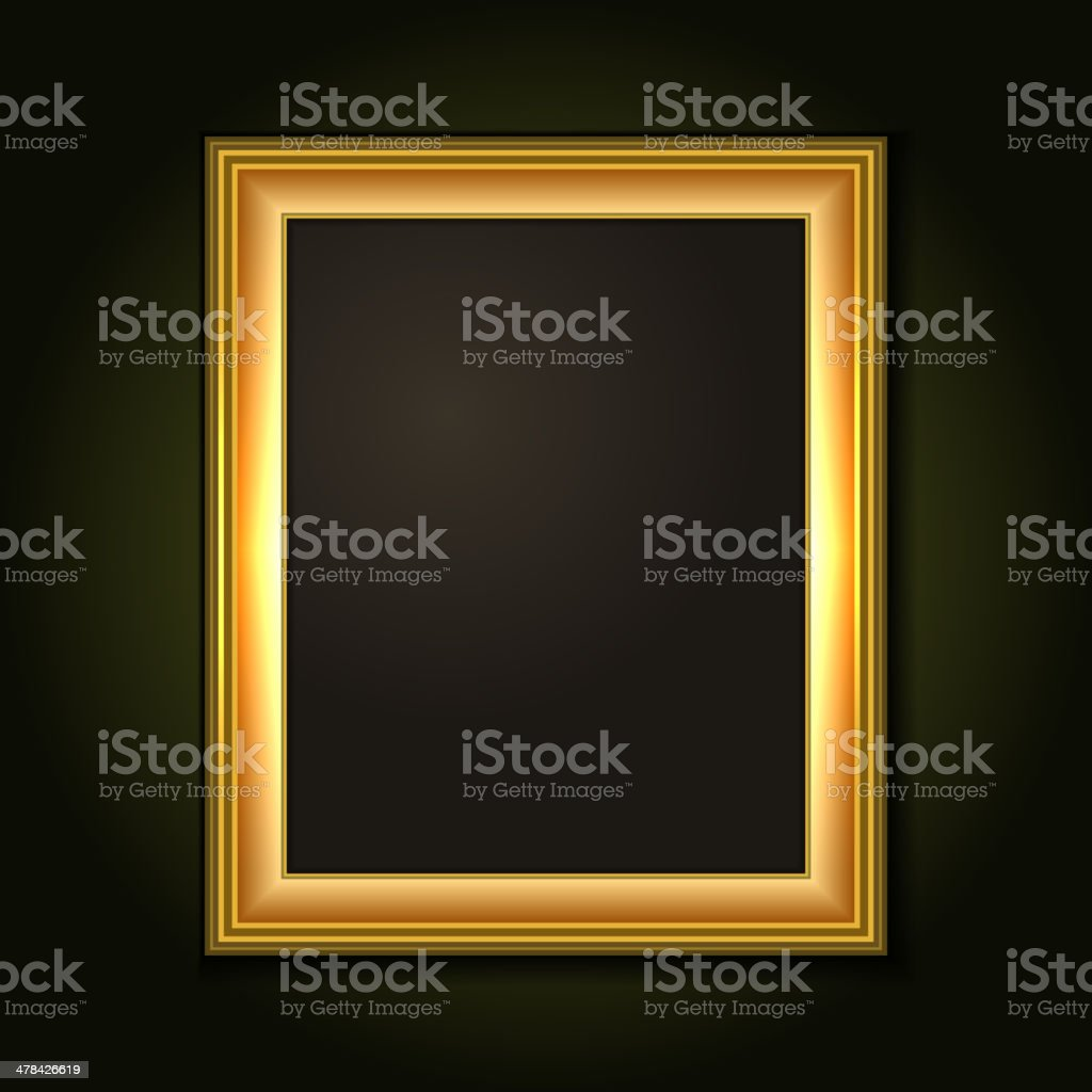 Gold Picture Frame with Dark Canvas royalty-free stock vector art