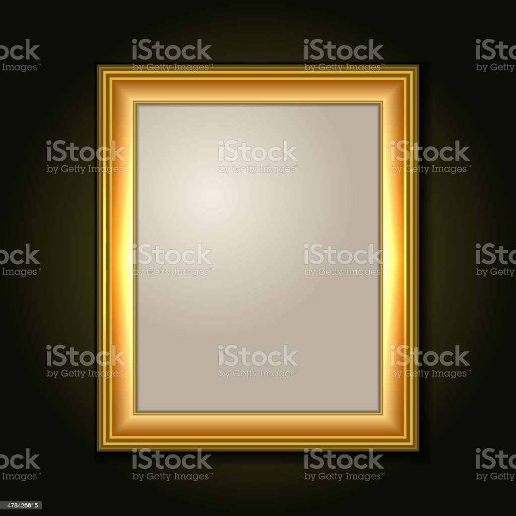 Gold Picture Frame with Light Canvas royalty-free stock vector art