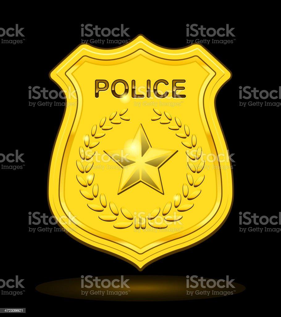Gold Police Badge vector art illustration