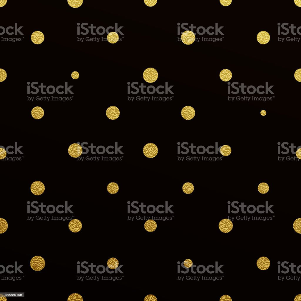 Gold polka dot seamless pattern on black background vector art illustration
