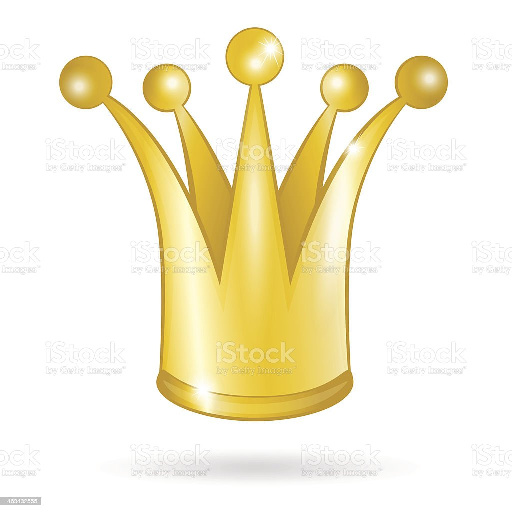 Gold princess crown isolated on white background vector art illustration