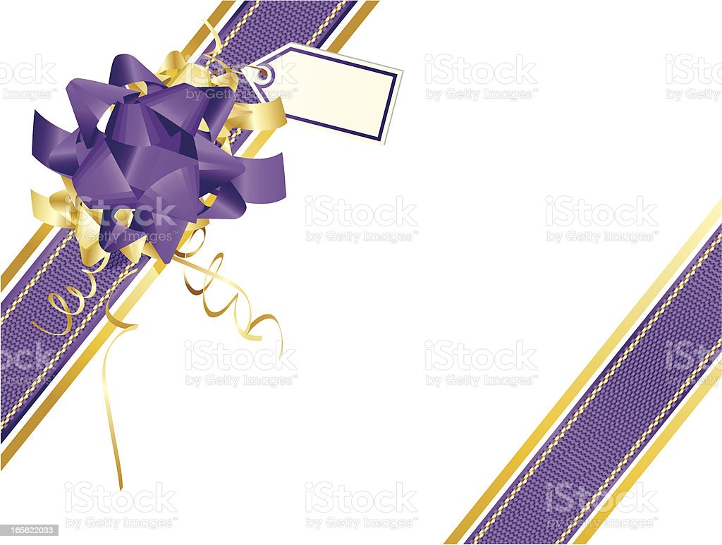 Gold Purple Ribbons and Wrapping Angle- Christmas royalty-free stock vector art