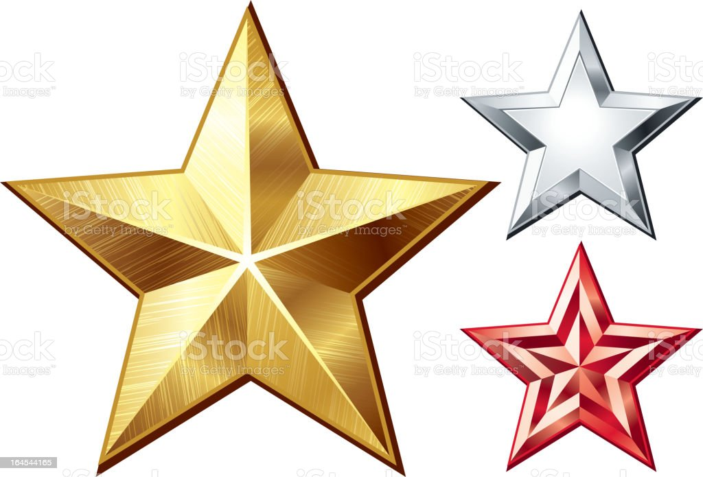 Gold, red and silver graphic reflective stars vector art illustration