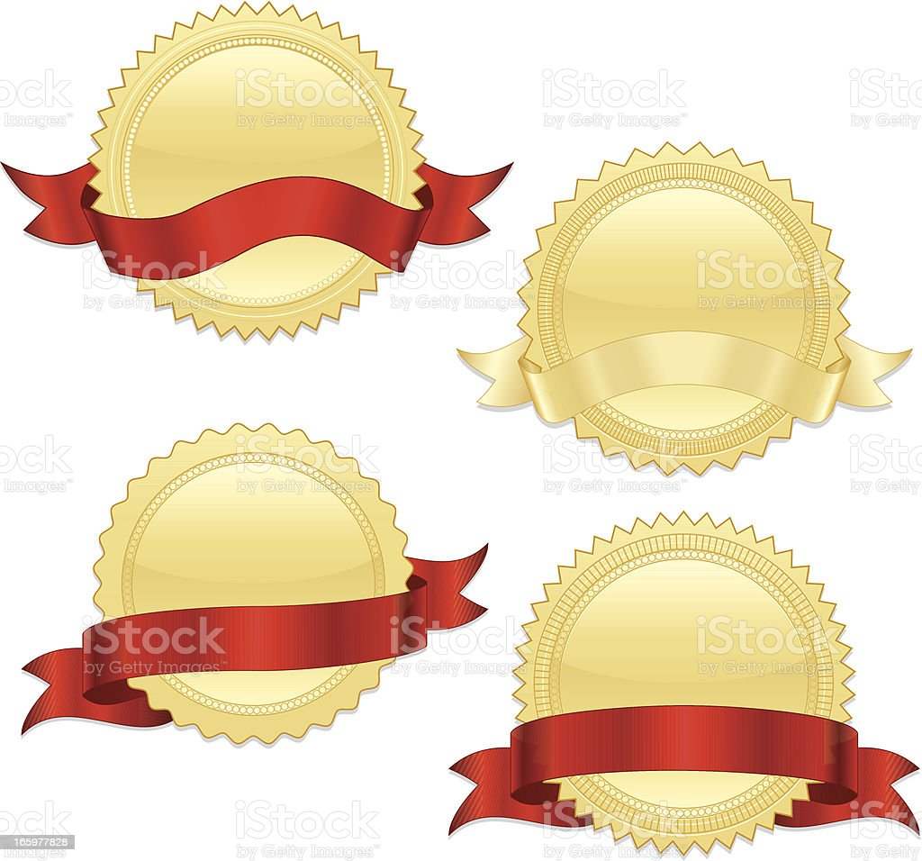 Gold, Red Seals, Medals, and Ribbons Set royalty-free stock vector art