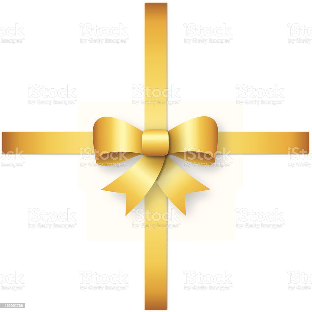 Gold ribbon with bow royalty-free stock vector art
