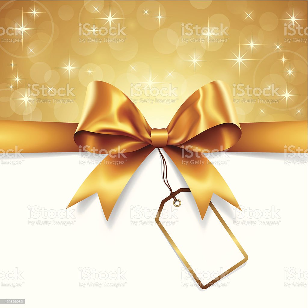 Gold Ribbon with Tag vector art illustration