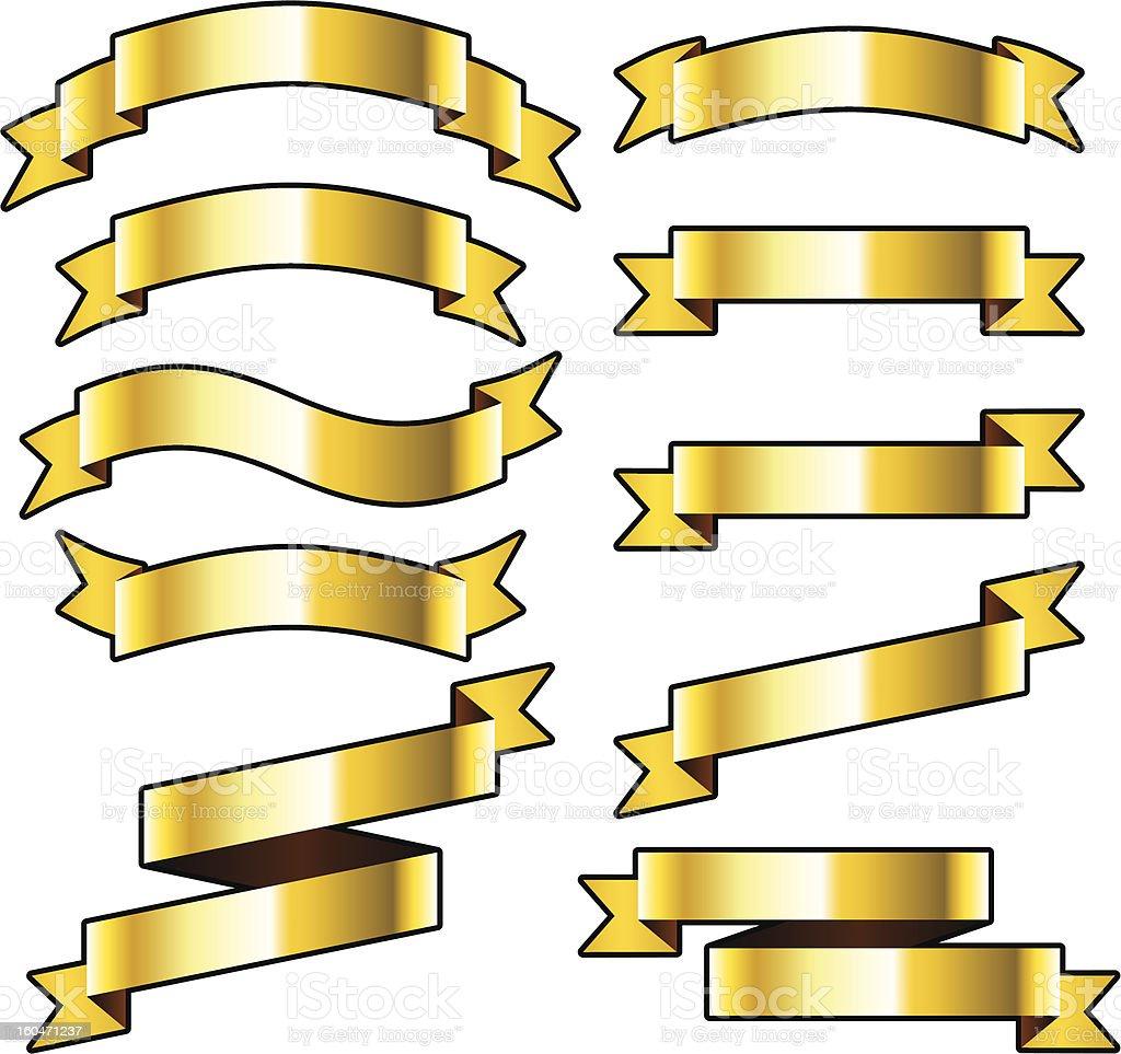 Gold ribbons. royalty-free stock vector art