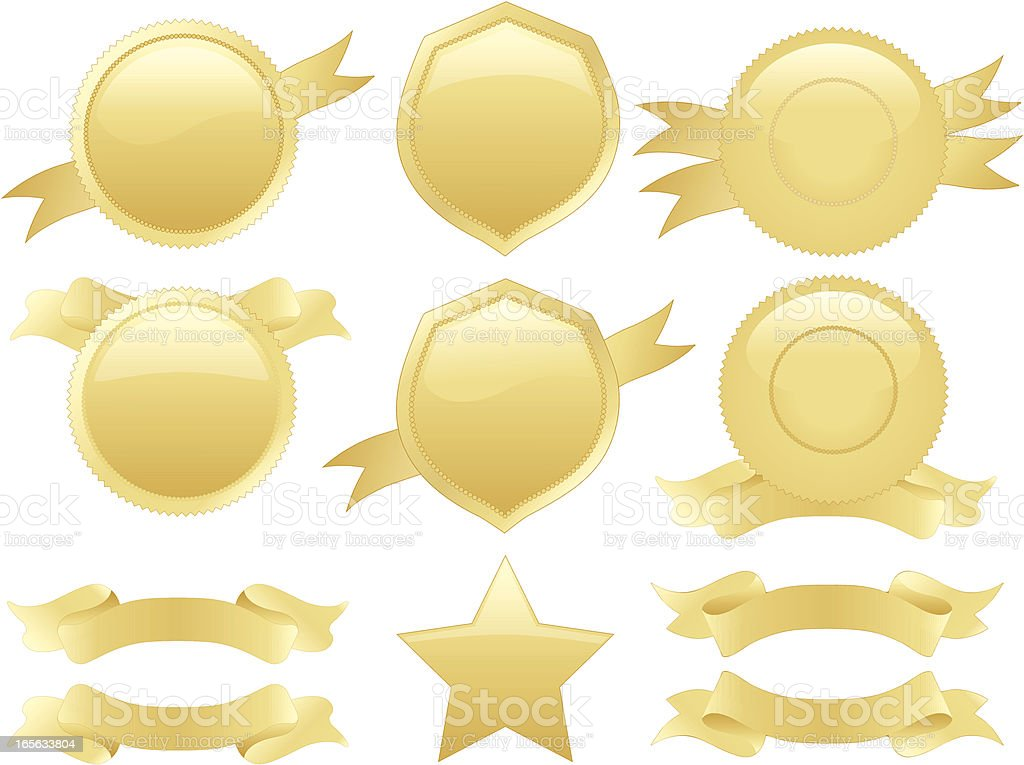 Gold Round Seals, Medals, Shields Set with Optional Ribbons royalty-free stock vector art