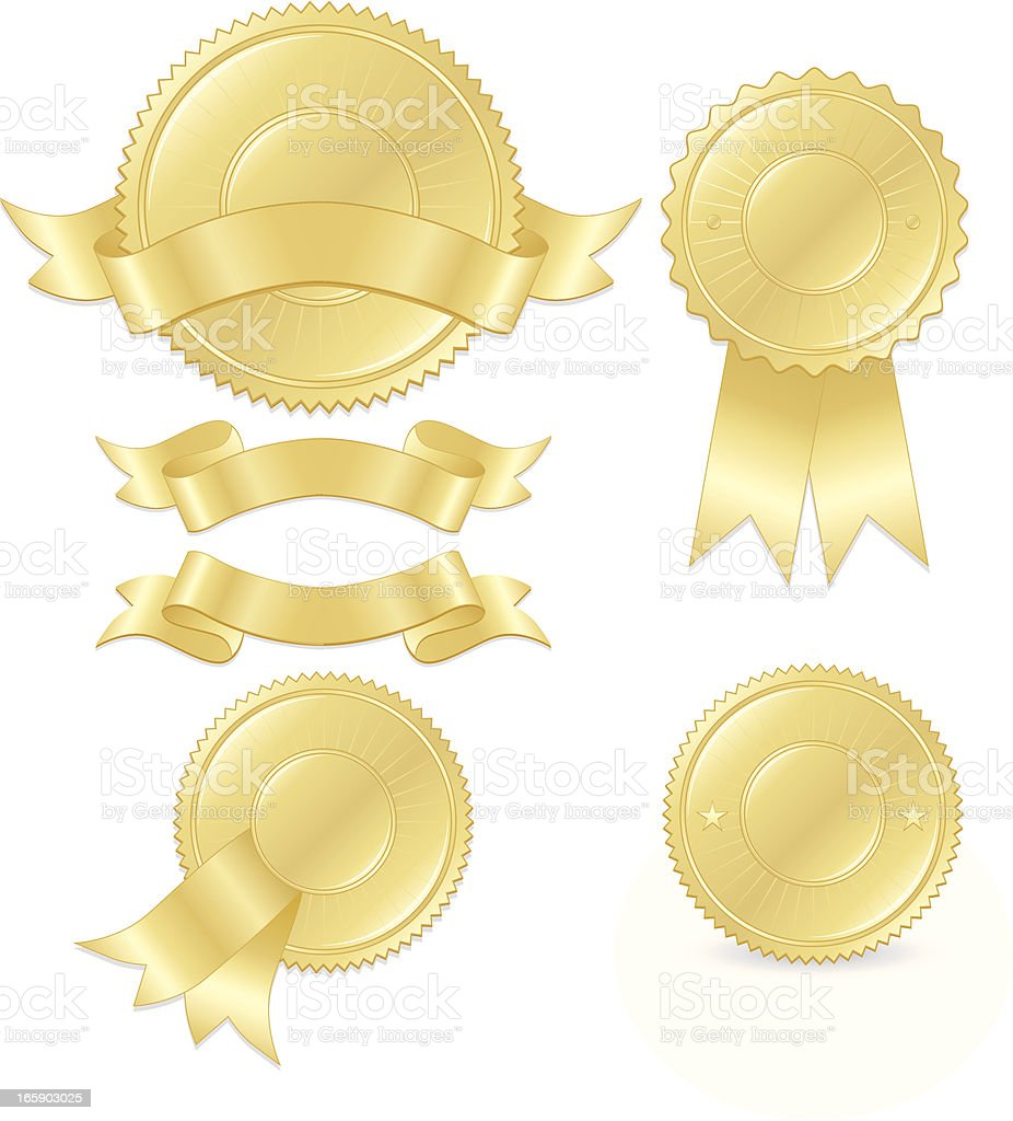 Gold Round Seals, Stickers Set with Optional Ribbons royalty-free stock vector art