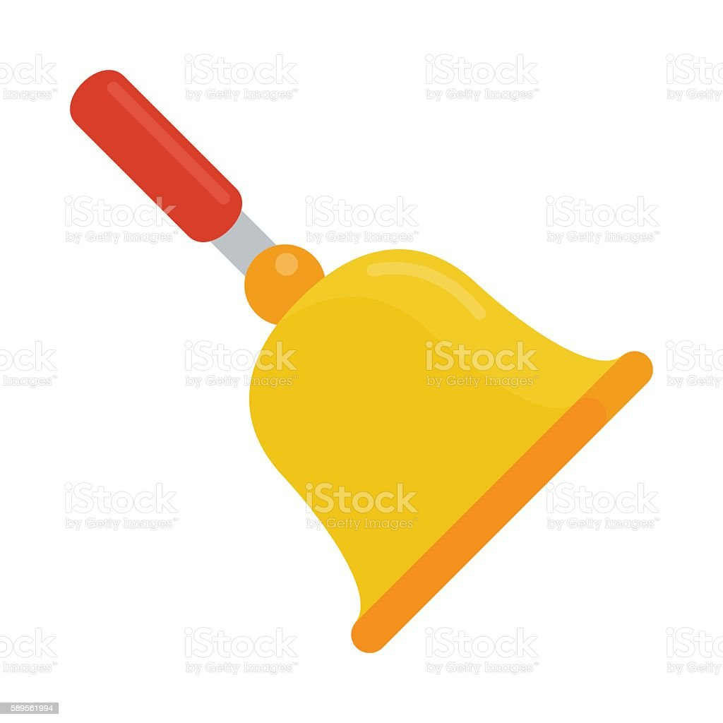 gold school bell flat vector art illustration