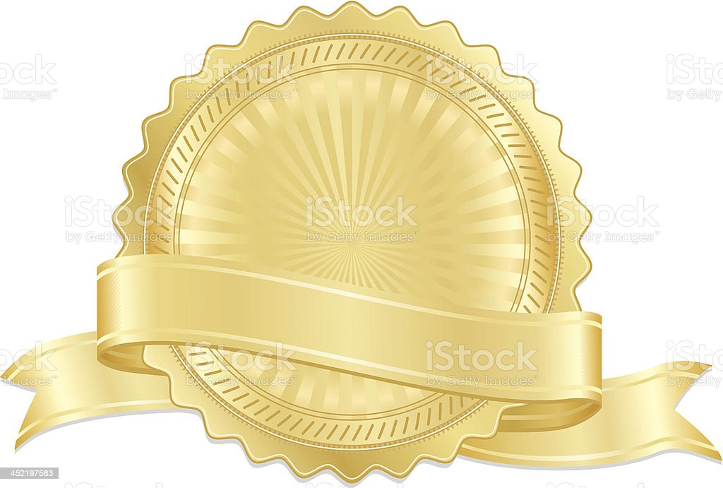 Gold Seal, Medal, and Optional Ribbon Set royalty-free stock vector art