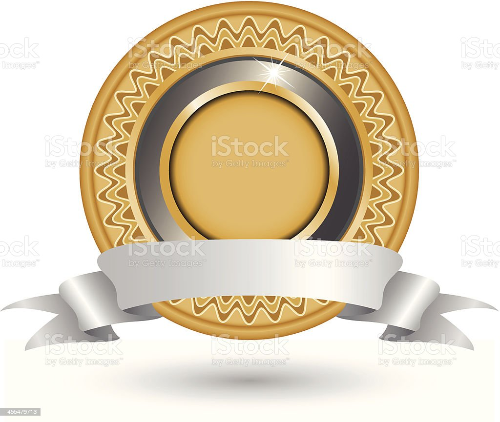 Gold Seal with Banner vector art illustration