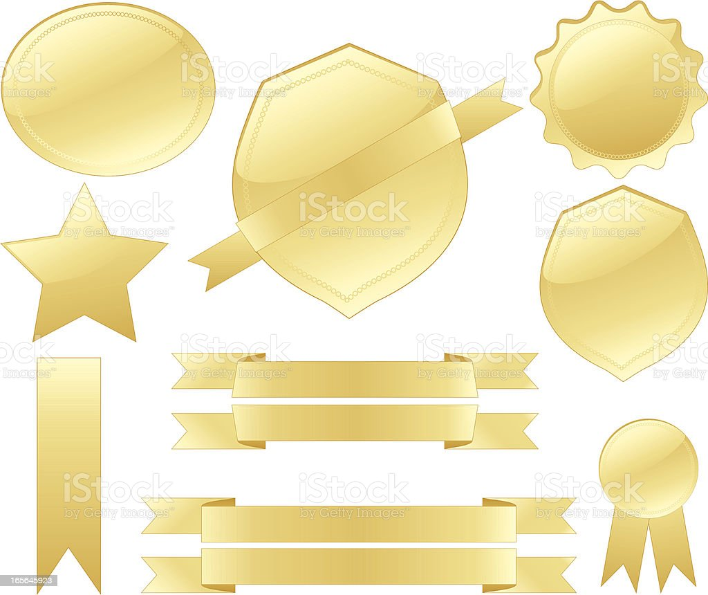 Gold Seals, Medals, Shields, Ribbons Design Elements Set royalty-free stock vector art