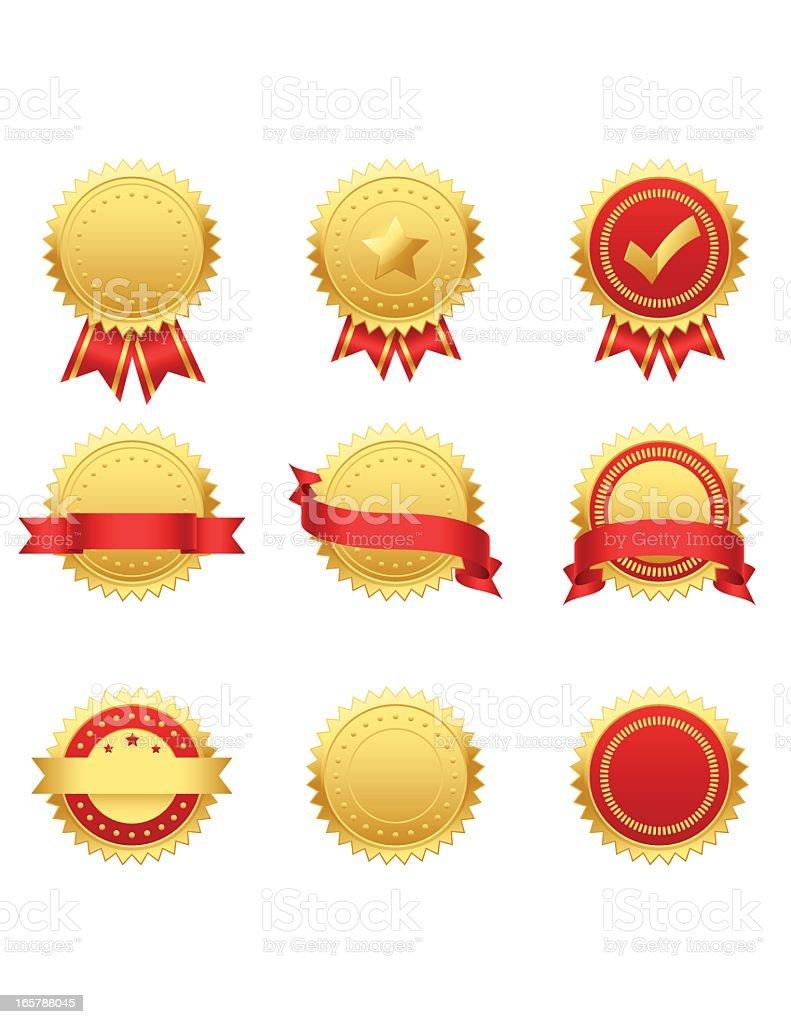 Gold Seals vector art illustration