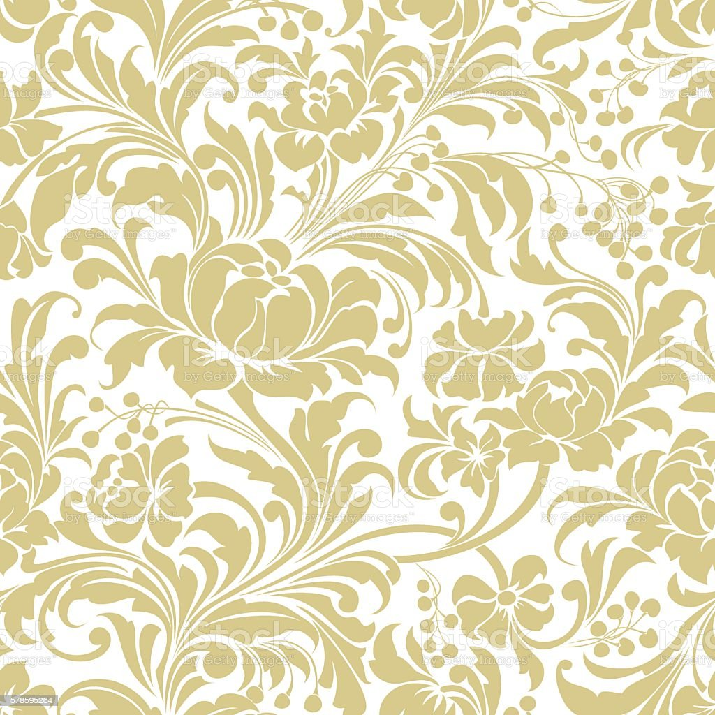 Gold seamless floral vector background vector art illustration