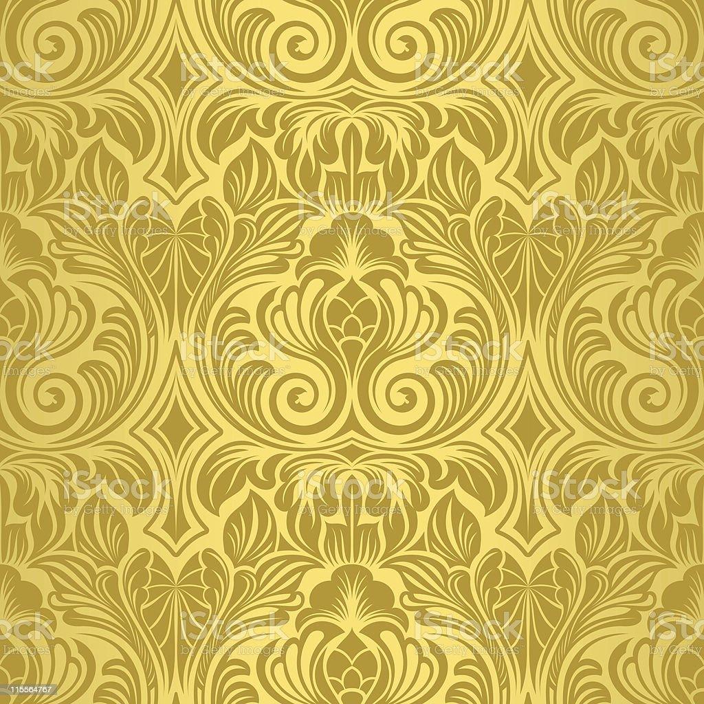 Gold seamless wallpaper royalty-free stock vector art