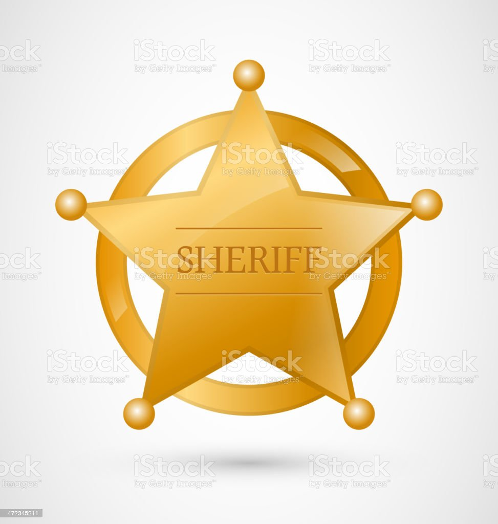 Gold Sheriff Badge vector art illustration