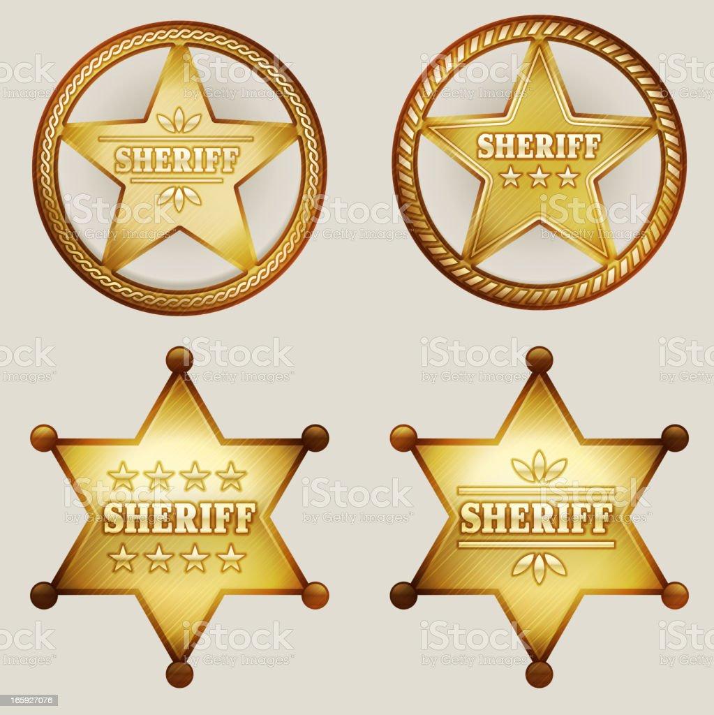 Gold Sheriff Badges Set royalty-free stock vector art