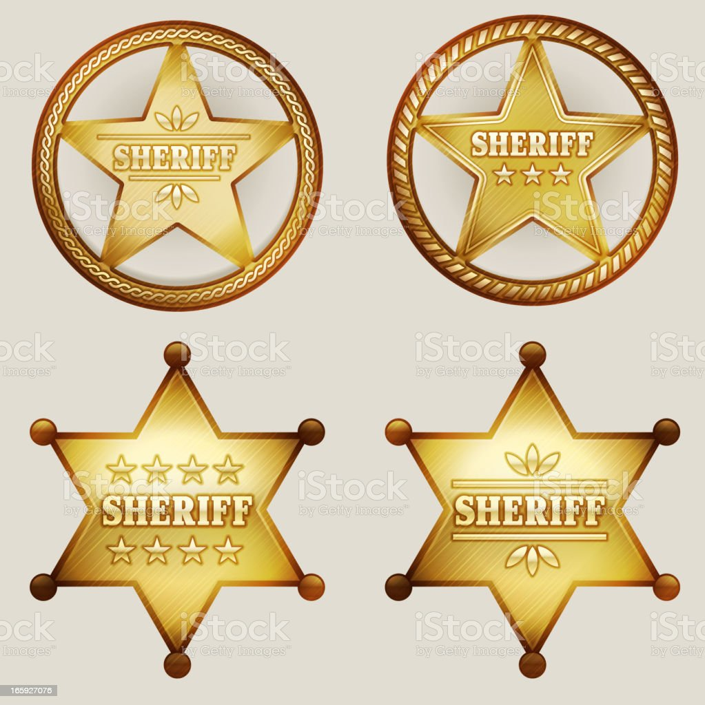 Gold Sheriff Badges Set vector art illustration