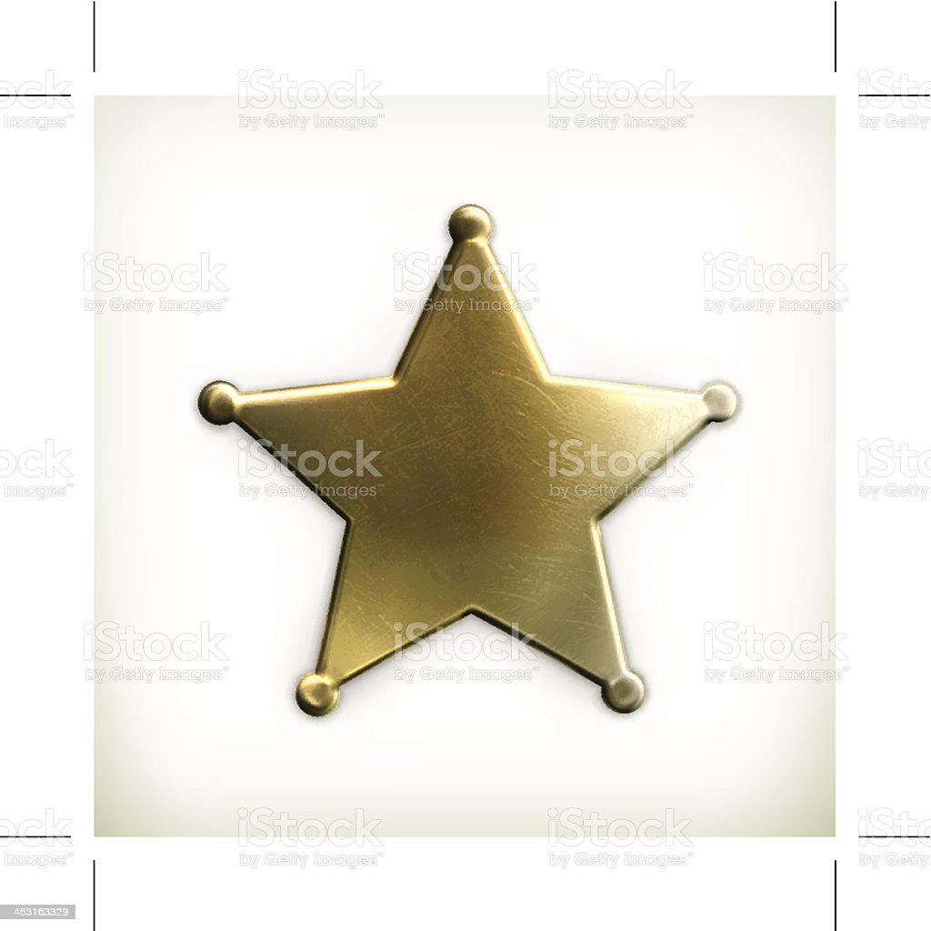 Gold sheriff star with photo border vector art illustration
