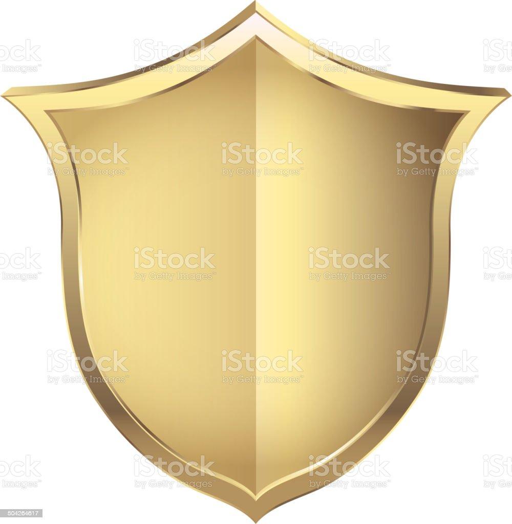 Gold shield vector art illustration